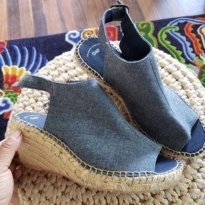 New Gap denim wedges espadrilles strappy sandle 7